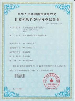 九连环EIP(ERP软件开发平台)版权证书
